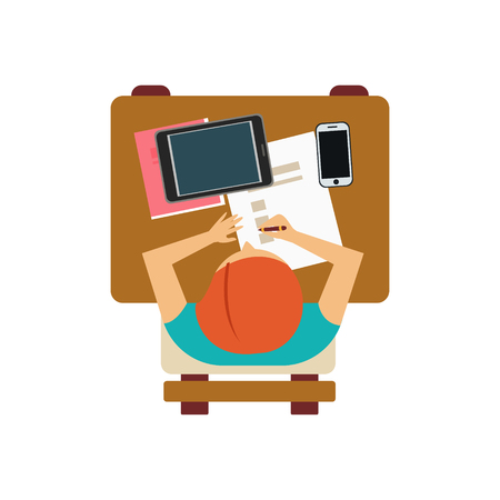 attending: Male Student With Tablet And Smartphone From Above Flat Isolated Primitive Style Design Vector Illustration On White Background Illustration