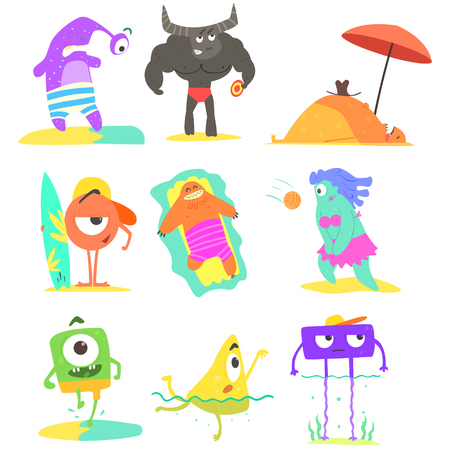 matrass: Monsters  On The Beach Childish Funny Flat Vector Illustrations Set Isolated On White Background