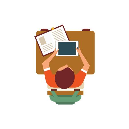study table: Male Student With Tablet From Above Flat Isolated Primitive Style Design Vector Illustration On White Background