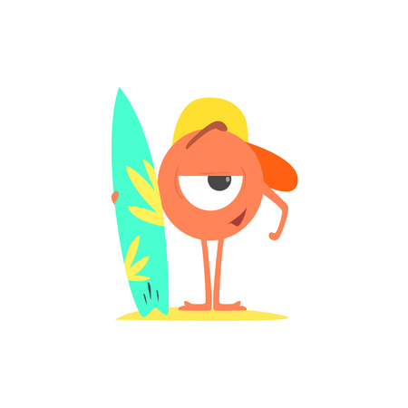 funny surfer: Monster On The Beach With Surf Board Childish Funny Flat Vector Illustration Isolated On White Background