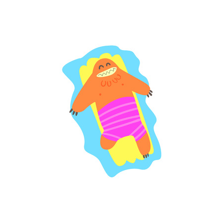 matrass: Floating On Matrass Monster On The Beach Childish Funny Flat Vector Illustration Isolated On White Background