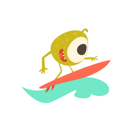 funny surfer: Surfer Monster On The Beach Childish Funny Flat Vector Illustration Isolated On White Background