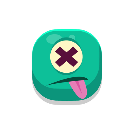 dizzy: Dizzy Monster Square Icon Isolated On White Background In Fun Childish Emoji Style Vector Design Illustration