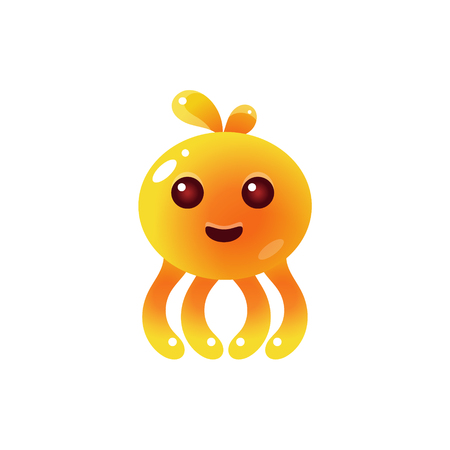 fantastic creature: Yellow Balloon Octopus Character Flat Isolated Vector Image In Childish Primitive Style On White Background