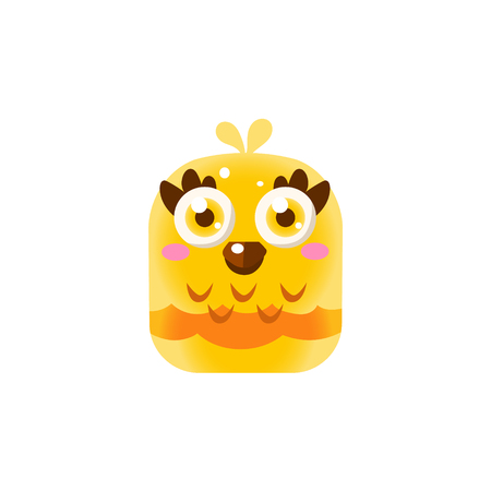 pic  picture: Yellow Adorable Chick Square Icon Colorful Bright Childish Cartoon Style Icon Flat Vector Design Isolated On White Background