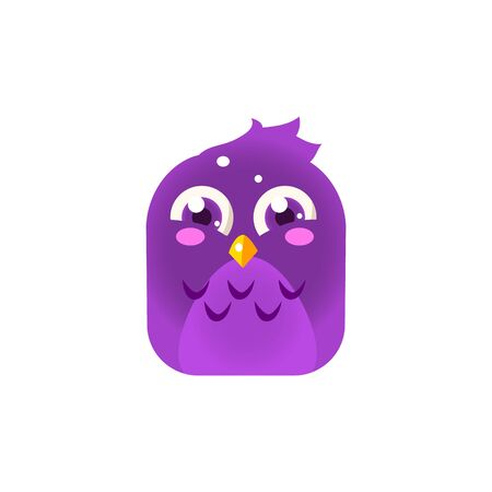 blushing: Purple Giggling Chick Square Icon Colorful Bright Childish Cartoon Style Icon Flat Vector Design Isolated On White Background