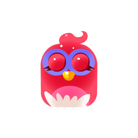 pic  picture: Pink Sleeping  Chick Square Icon Colorful Bright Childish Cartoon Style Icon Flat Vector Design Isolated On White Background