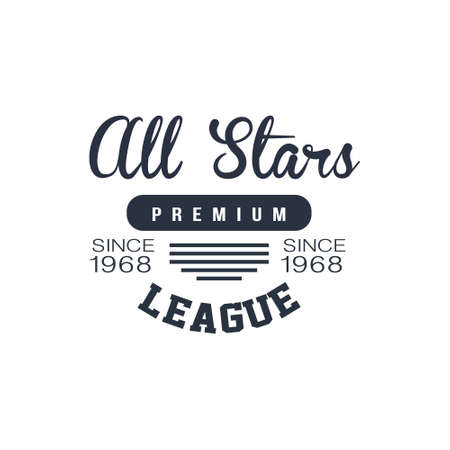 sports league: Classic Sports League  Black And White Vintage Design Isolated On White Background Vector Print