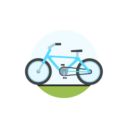 transpiration: Bicycle Round Sticker In Minimalistic Bright Colorful Flat Vector Design Isolated On White Background Illustration