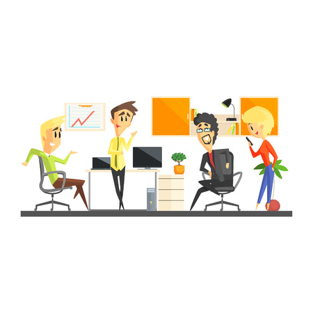 discussing: Office Team Discussing Flat Vector Graphic Geometric Style Illustration On White Background