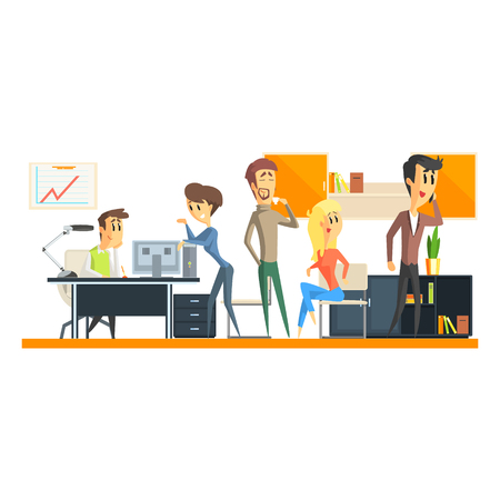person computer: Office Team On Coffee Break Flat Vector Graphic Geometric Style Illustration On White Background