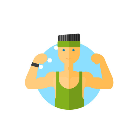 minimalistic: Sporty Guy Round Sticker In Minimalistic Bright Colorful Flat Vector Design Isolated On White Background Illustration