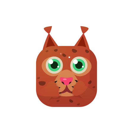 lynx: Lynx Square Icon Colorful Bright Childish Cartoon Style Icon Flat Vector Design Isolated On White Background Illustration