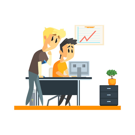 strategical: Office Team Success Flat Vector Graphic Geometric Style Illustration On White Background