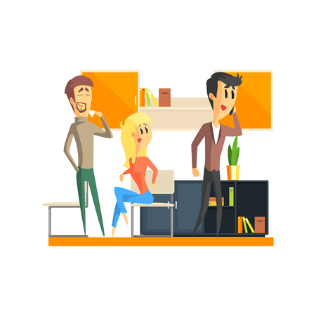 atmosphere: Office Team Relaxing Flat Vector Graphic Geometric Style Illustration On White Background