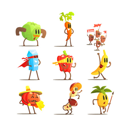 microelements: Healthy Food Cartoon Characters Flat Vector Design Cute Funny Childish Style Set Of Icons On White Background