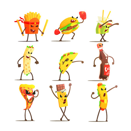 trashy: Fast Food Cartoon Characters  Flat Vector Design Cute Funny Childish Style Set Of Icons On White Background