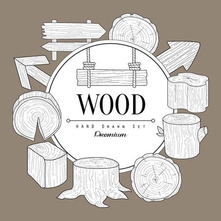 Drewno Vintage wektor Hand Drawn karty Projektowanie