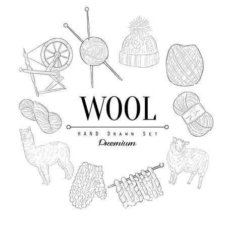 Wool Vintage Vector Hand Drawn Design Card