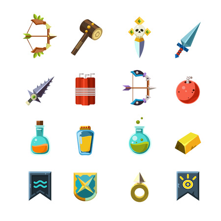 poison arrow: Flash Game Inventory Set Of Simple Flat Isolated Icons On White Background In Graphic Vector Design Illustration