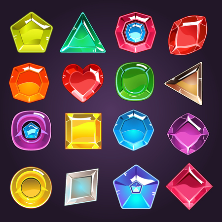 crush: Flash Game Design Jewel Set Of Flat Vector Icons Isolated On Dark Blue Background Illustration