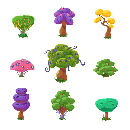 Fantastic Trees Set Of Cute Girly Style Cartoon Vector Flat Drawings Isolated On White Background Illustration