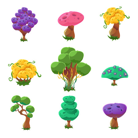 Fantastic Trees Collection Of Cute Girly Style Cartoon Vector Flat Drawings Isolated On White Background Illustration