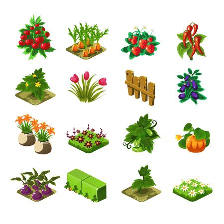 Flash Game Farming Elements Set von niedlichen Cartoon stilisierte Vektor Flach Zeichnungen auf weißem Hintergrund isoliert