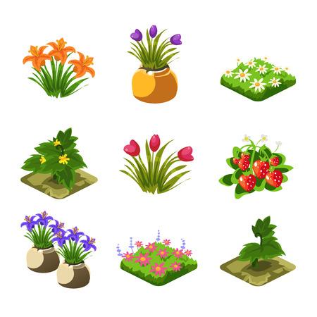 Jeu Flash Jardinage Elements Set Of Mignon Cartoon stylisées vecteur plat Dessins isolé sur fond blanc Vecteurs