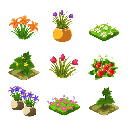 Flash Game Gardening Elements Set Of Cute Cartoon Stylized Vector Flat Drawings Isolated On White Background Illustration