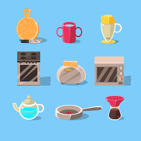 simplified: Kitchen Appliences Set Of Flat Isolated Vector Simplified Bright Color Design Icons On Blue Background