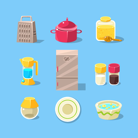 pepper grinder: Kitchen Equipment Set Of Flat Isolated Vector Simplified Bright Color Design Icons On Blue Background Illustration