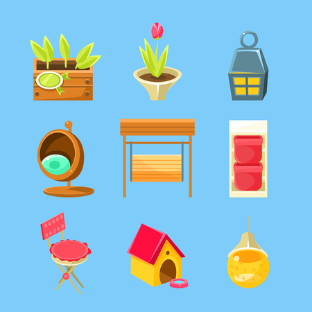 lawn chair: Garden Stuff Set Of Flat Isolated Vector Simplified Bright Color Design Icons On Blue Background