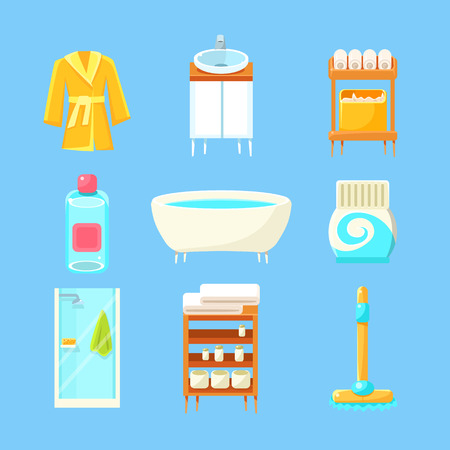 bath gown: Bathroom Things Set Of Flat Isolated Vector Simplified Bright Color Design Icons On Blue Background