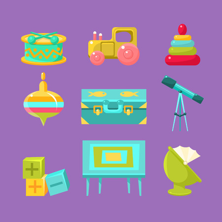 infancy: Kids Room Objects Collection Of Flat Isolated Minimalistic Vector Icons In Childish Style On Violet Background Illustration