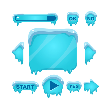 icy: Flash Game Screen And Buttons Covered With Ice Flat Vector Graphic Design Image On White Background Illustration