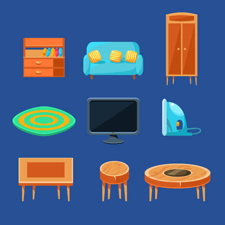living thing: Living Room Furniture Set Of Flat Isolated Vector Simplified Bright Color Design Icons On Blue Background