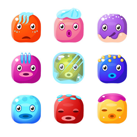 fantastic creature: Square Fantastic Creature Face Emoticon Set Of Flat Brightly Coloured Vector Design Cute Icons Isolated On White Background