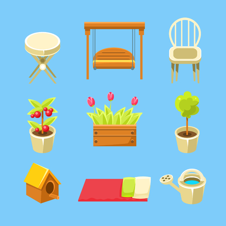 yard furniture: Garden Objects Set Of Flat Isolated Vector Simplified Bright Color Design Icons On Blue Background Illustration