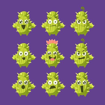 サボテンの漫画のキャラクターは紫色の背景に幼稚なスタイルのフラット分離おかしいベクトル アイコンの設定