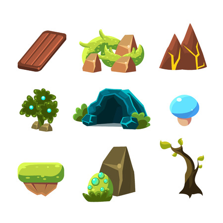 levels: Flash Game Level Design Collection Of Elements In Cute Vector Childish Style Isolated On White Background
