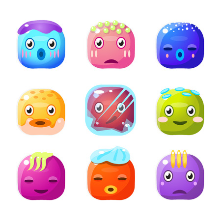 fantastic creature: Square Fantastic Creature Face Emoji Set Of Flat Brightly Coloured Vector Design Cute Icons Isolated On White Background