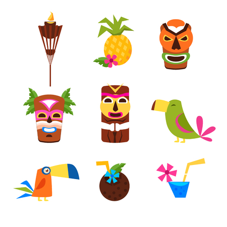 childish: Hawaii Themed Set Of Flat Isolated Vector Icons In Bright Colors On White Background