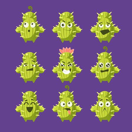フラットの漫画サボテン絵文字セット分離紫色の背景で幼稚なスタイルで面白いベクトルのアイコン