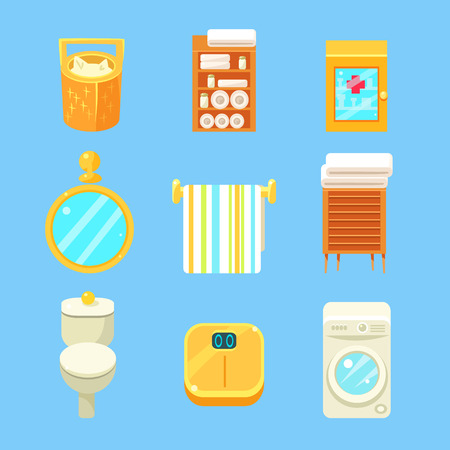simplified: Bathroom Objects Set Of Flat Isolated Vector Simplified Bright Color Design Icons On Blue Background Illustration
