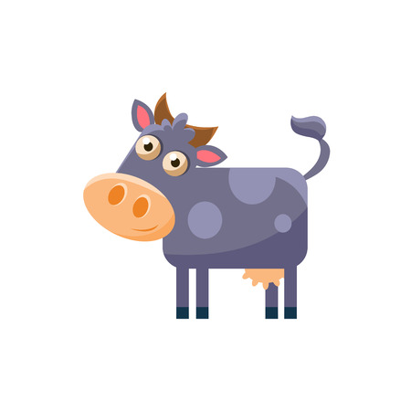 udder: Cow Simplified Cute Illustration In Childish Flat Vector Design Isolated On White Background
