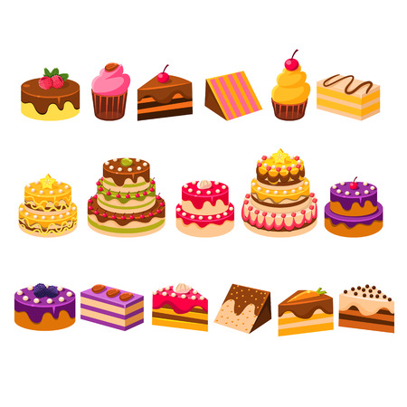 vitrine: Different Cakes Collection Of Flat Isolated Vector Icons In Bright Colors On White Background