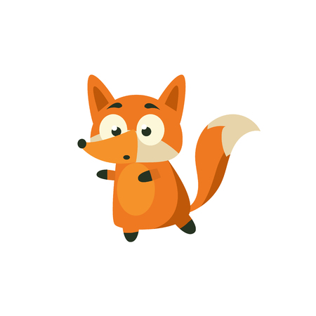 walking away: Fox Carefully Walking Away Adorable Cartoon Style Flat Vector Illustration Isolated On White Background