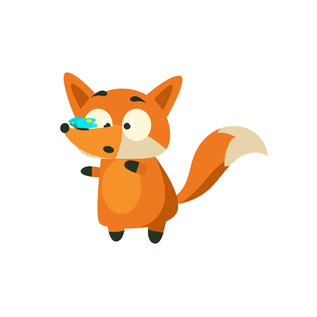 background picture: Fox With Butterfly On The Nose Adorable Cartoon Style Flat Vector Illustration Isolated On White Background