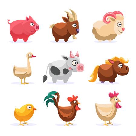 농장 동물 컬렉션 유치 한 다채로운 평면 벡터 디자인 흰색 배경에 고립에서 단순화 귀여운 그림